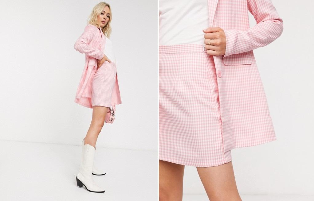 Minifalda de traje de sastre en cuadros vichy rosas