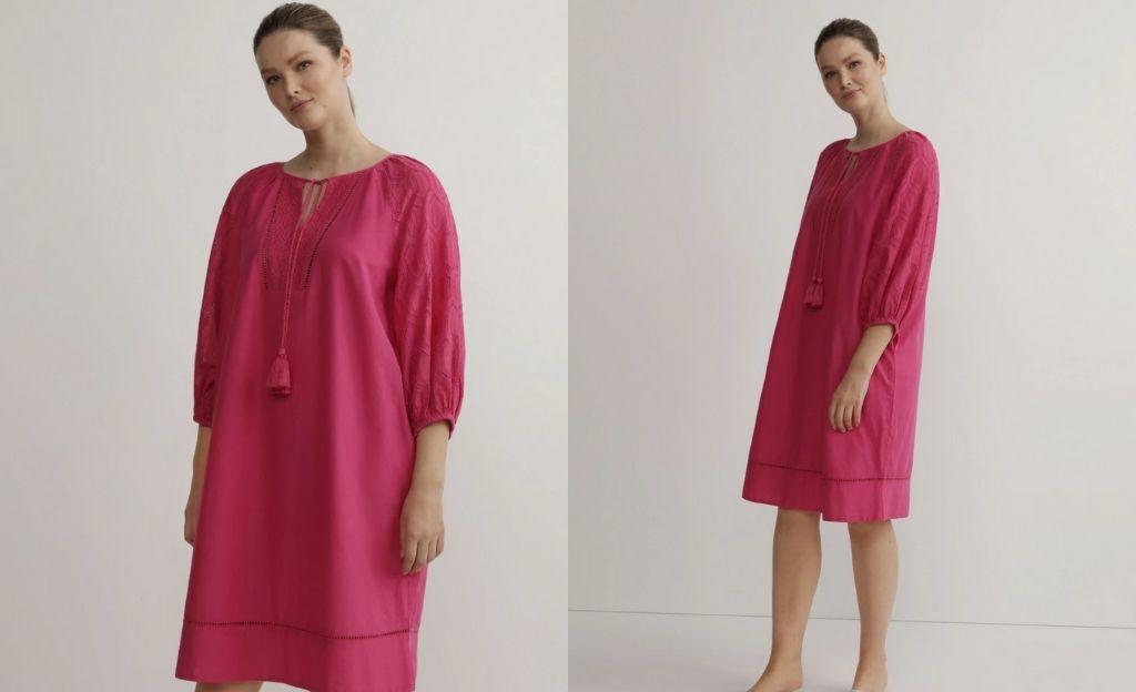 Vestido túnica talla grande Couchel Collection con troquelado