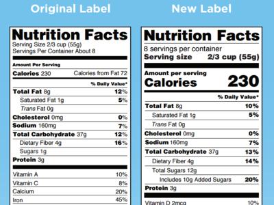 Nuevas etiquetas nutricionales en USA indicarán el contenido de azúcares añadidos