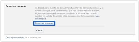 Facebook Desactivar Cuenta 2