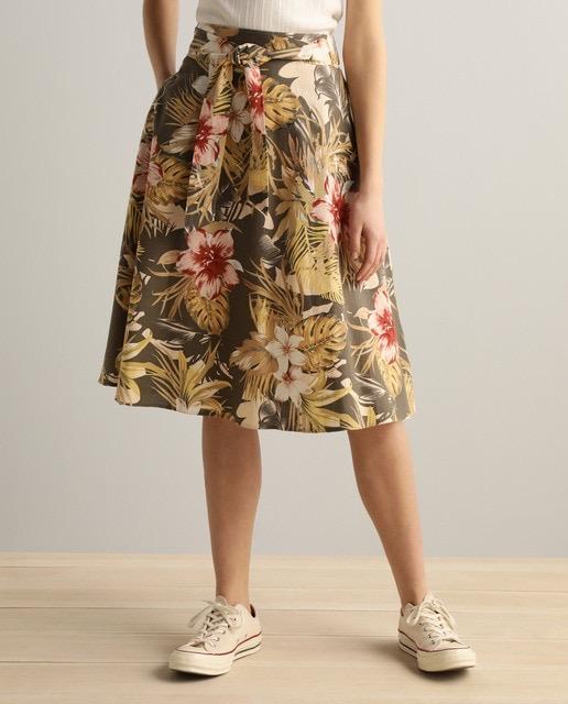 Falda de lino de flores