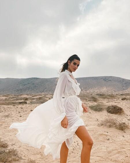 Este es el precioso vestido blanco de Susana Molina para triunfar con un look de aires boho en cualquier evento