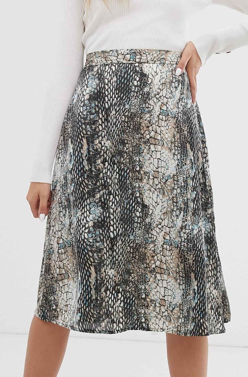 Falda midi de satén con estampado de serpiente de JDY