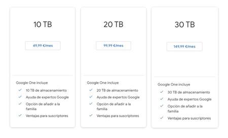 Nuevos precios de Google One