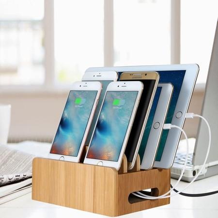 Maxtronic Estacion De Carga Organizador De Dispositivos Multiples Universal Cord Organizer Base Dock Para Telefonos Inteligentes Y Tabletas
