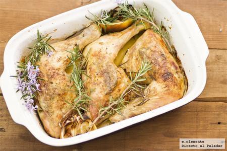 Pollo asado al romero y limón. Receta