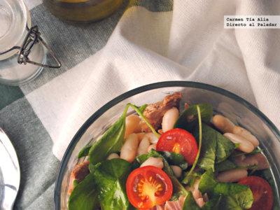 Ensalada de alubias con berros, cherry y ventresca. Receta saludable