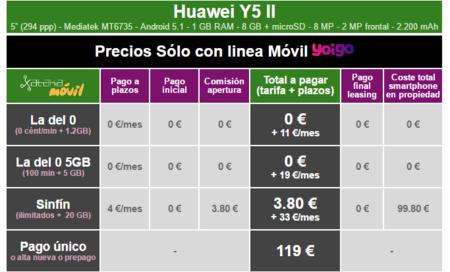 Precios Huawei Y5ii Con Tarifas Yoigo
