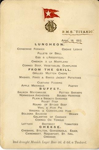 Subastado el menú del Titanic