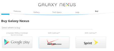 Google empieza a vender Galaxy Nexus en Google Play Store por 399 dólares, en Estados Unidos
