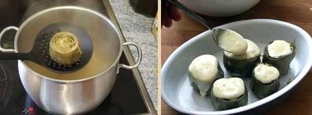 Alcachofas gratinadas con queso. Receta vegetariana, paso2