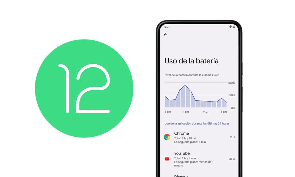 Así es como Android™ doce proporcionara filtrar por horas el uso de la batería que realizan las aplicaciones
