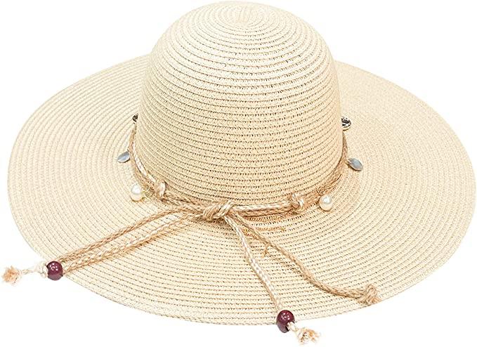 accsa Sombrero de Paja para Mujer Ajustable Pamelas de Playa con ala Ancha Sombrero de Verano para Playa Plegable Sombreros para el Sol Anti-UV para Viajes al Jardín