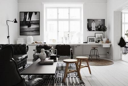 Acogedor apartamento en blanco y negro