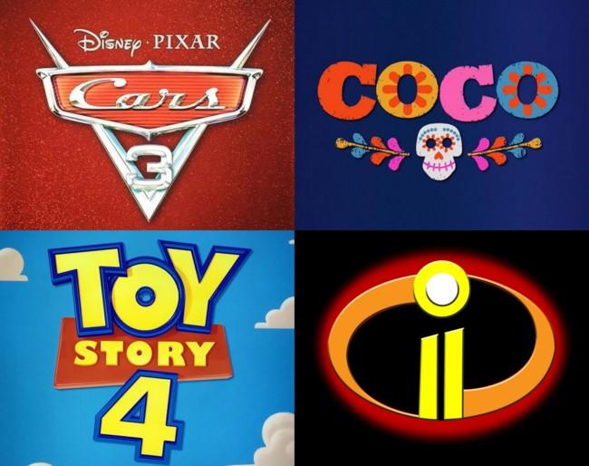 Cars 3, Coco, Toy Story 4 y Los Increíbles 2