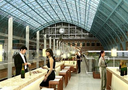 The Champagne bar en la estación de St. Pancras
