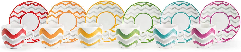 Excelsa Zag - Juego de 6 tazas de café con plato, porcelana, multicolor