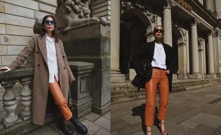 Pantalones Efecto Piel Color Oxido
