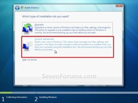 Windows 7, instalación personalizada