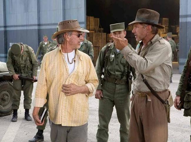 Spielberg y Ford en el rodaje de Indiana Jones 4