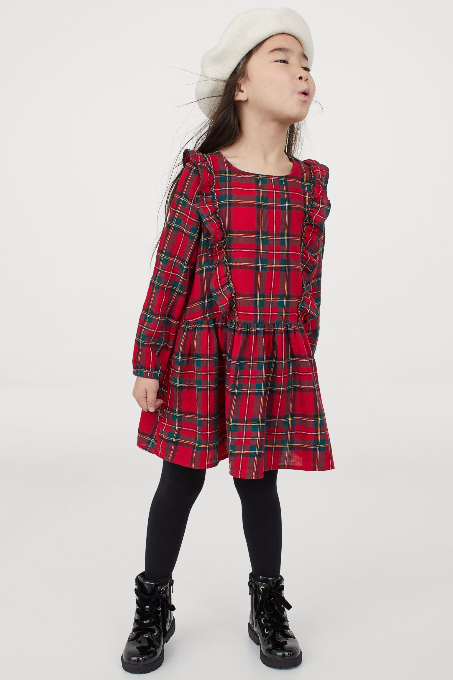 Vestido de estampado de cuadros escoceses y volantes