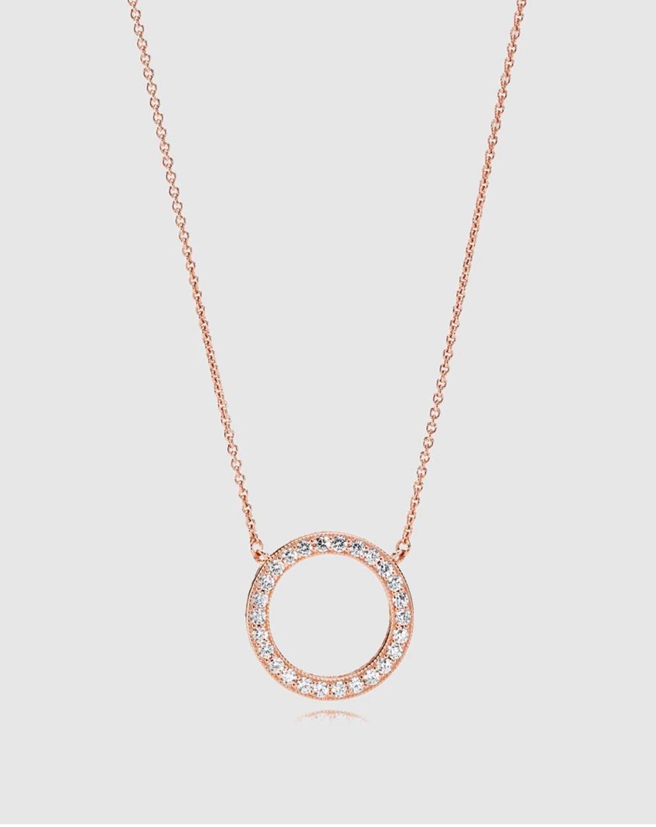Collar Rose de plata y circonita de Pandora