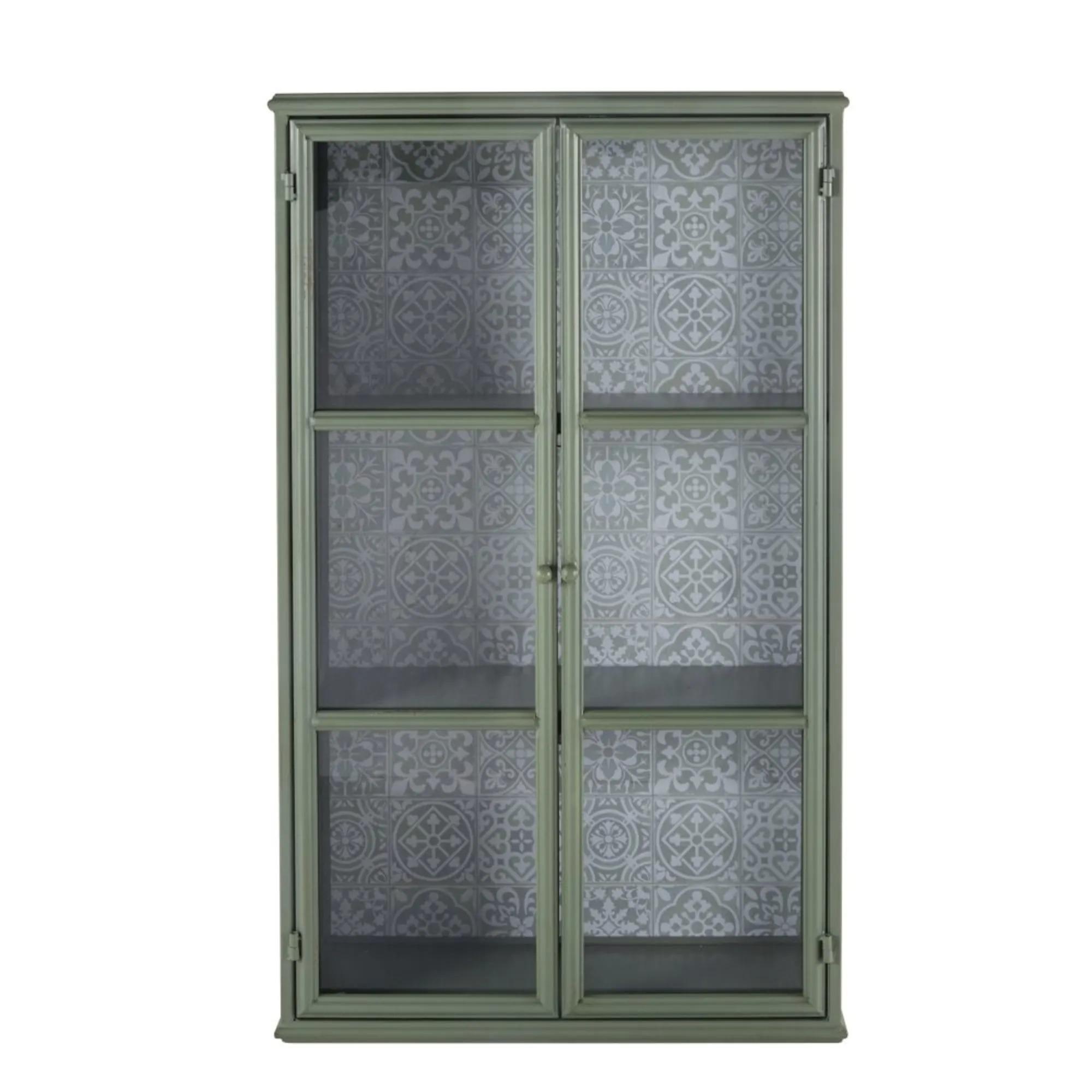 MATHILDA.- Vitrina de 2 puertas de metal verde claro