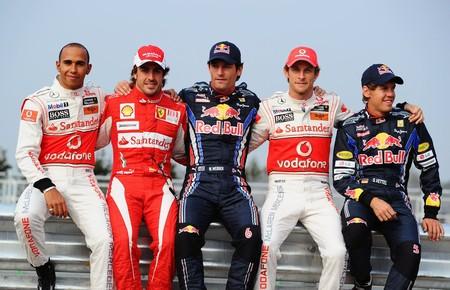 Vettel Webber Hamilton Button Alonso Corea F1 2010