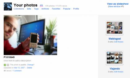 Flickr: cambiar la distribución de la portada