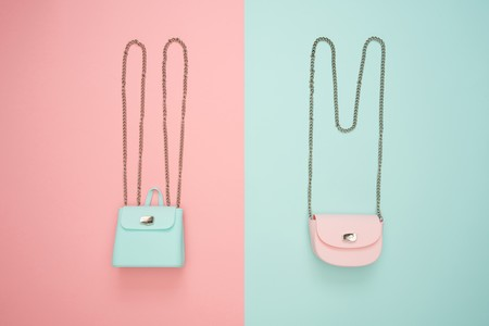 Photo Of Two Teal And Pink Leather Crossbody Bags 1038000