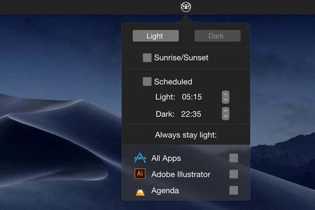 NightOwl te ofrece múltiples formas de activar el modo oscuro en macOS según tus preferencias
