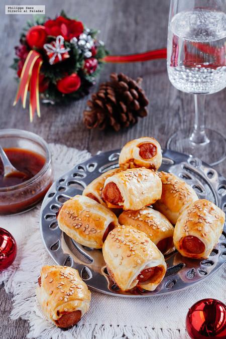 Mini hojaldres de salchicha. Receta de botana Navidad y Año nuevo