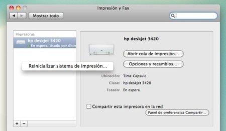 Cómo reinicializar el sistema de impresión de OS X