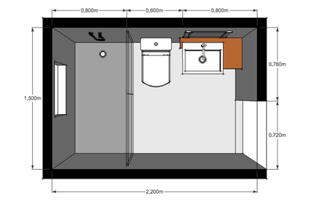 Dise o y distribuci n de ba os cuatro criterios para acertar for Plano de pieza cocina y bano