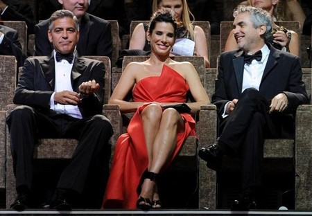 George Clooney, Sandra Bullock y Alfonso Cuarón a punto de ver Gravity en el Festival de Venecia