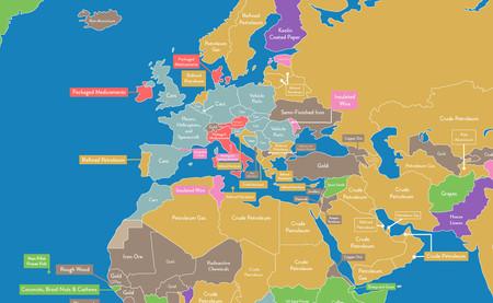 ¿Qué es lo que más exporta e importa cada país del mundo? Este estupendo mapa te lo enseña
