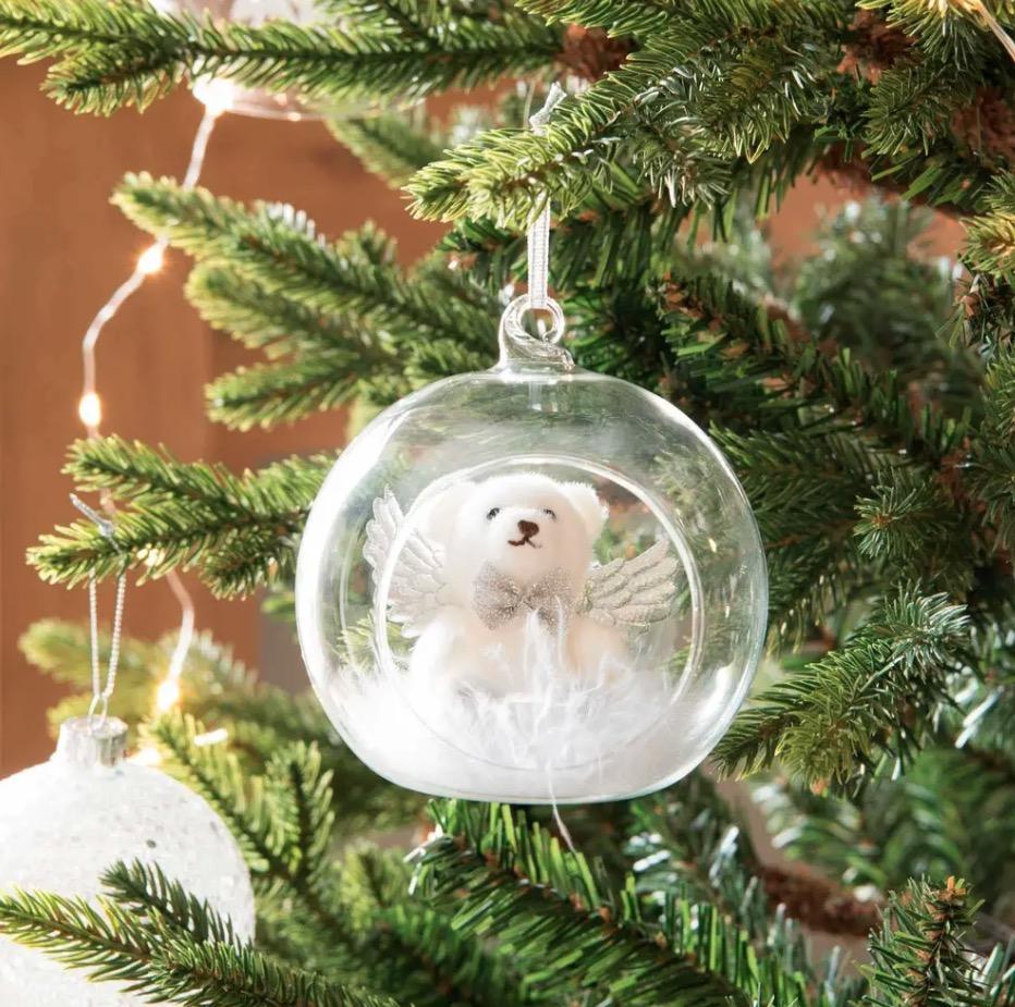 Bola de Navidad abierta con osito - lote de 4 piezas-