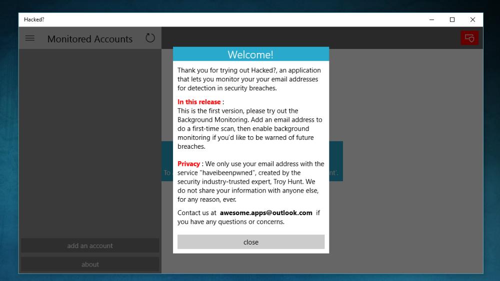 'Hacked?' Con esta app universal de Windows 10 sabrás si tu