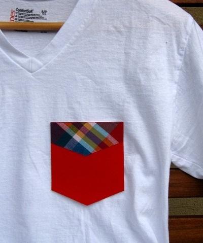 Pega un colorido bolsillo en tu camiseta
