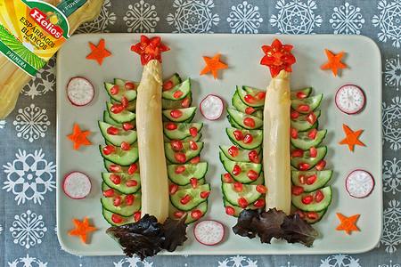 Presentaciones navideñas: Espárragos con forma de árbol de Navidad