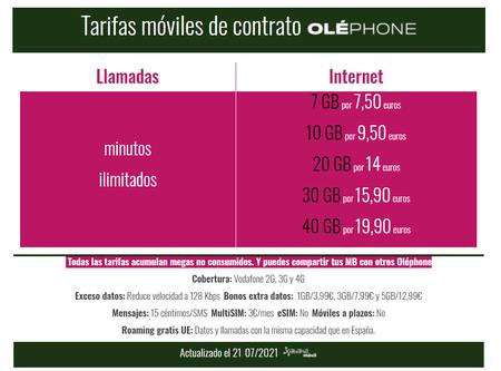 Nuevas Tarifas Moviles De Contrato Olephone En Julio De 2021