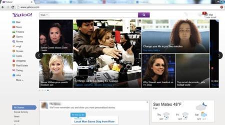Yahoo! experimenta con un nuevo diseño de su página principal