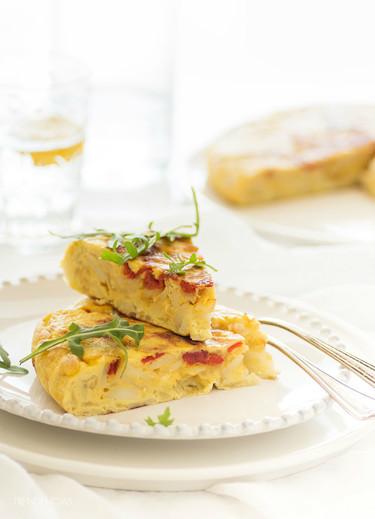 Tortilla de patatas con cebolla y pimientos confitados, berenjenas rellenas a los dos quesos y tomillo y más, en la Quincena Gourmet de Trendencias Lifestyle