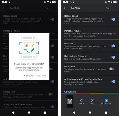 Google App Smart Screenshots