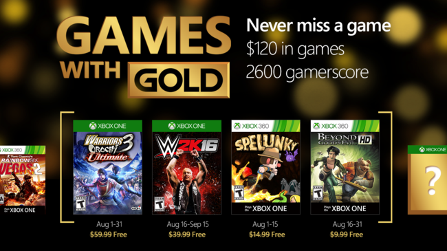 Games with Gold agosto
