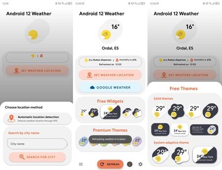 Widgets Android 12 Tiempo
