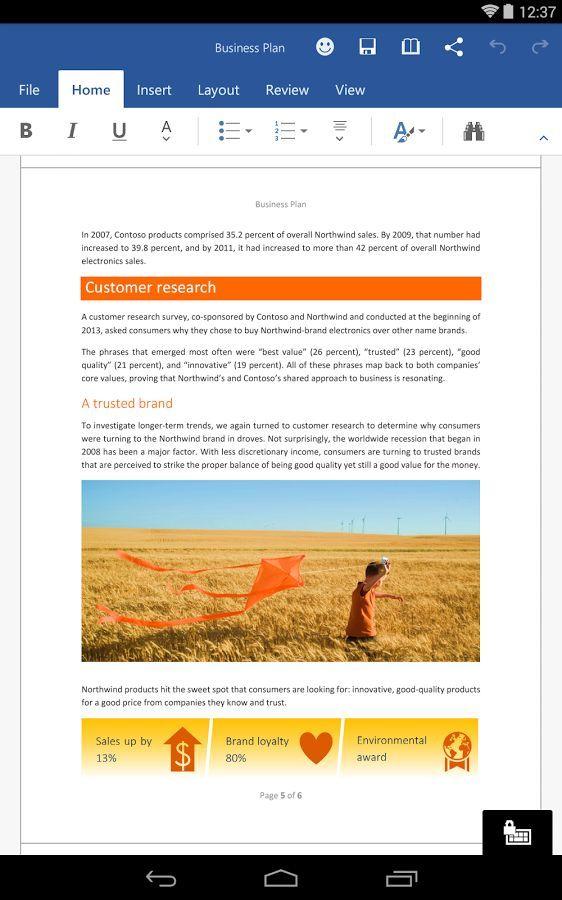 Foto de Word para tabletas Beta Preview (6/7)