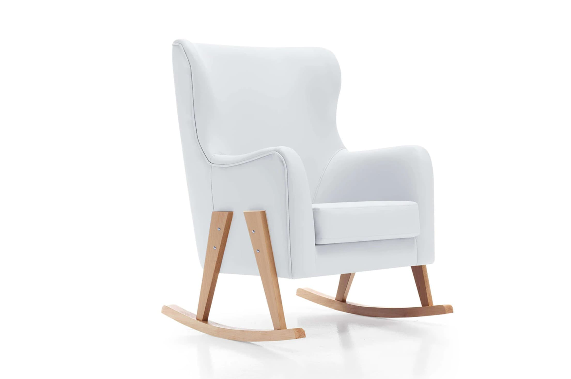 Butaca de Lactancia Alondra Glam Natural White con tapizado en polipiel y patas madera blanco/madera