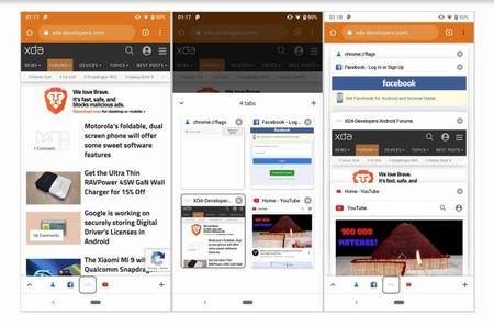 Google está probando en Chrome una barra de herramientas inferior que muestra las pestañas abiertas