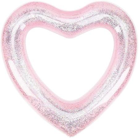 Flotador con forma de corazón rosa